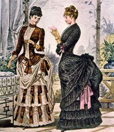 Two women wearing bustle dresses, circa Photo: Courtesy Everett Collection Stock Photo Victorian Era Fashion, 1880s Fashion, Victorian Costume, Victorian Women, Vintage Fashion, Women's Fashion, Victorian Dresses, Ladies Fashion, Ladies Outfits