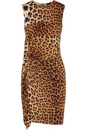 Just CavalliRuched leopard-print stretch-knit mini dress