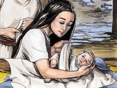 And she gave birth to her firstborn son and wrapped him in strips of cloth and laid him in a manger, because there was no place for them in the inn. – Slide 5