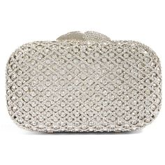 Women's Glint Crystal Lattice Minaudiere (3.988.060 IDR) ❤ liked on Polyvore featuring bags, handbags, clutches, silver, crystal purse, cocktail purse, crystal handbags, glitter clutches and crystal minaudiere