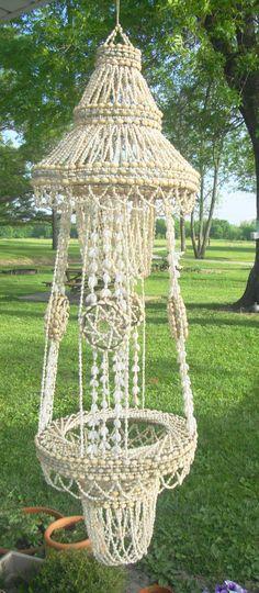 "Vintage Natural Sea Shell Beads Beaded Chandelier 58"" x 16"" Tiki Garden Hanger"