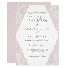 Elegant Vintage Pink lace Wedding Invitation - winter wedding diy marriage customize personalize couple idea individuel