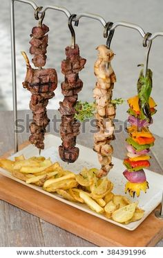 Cooked Chicken Beef Vegetable Kebab Skewers Stock Photo (Edit Now) 384391996 food design Food Trucks, Pub Food, Cafe Food, Food Design, How To Cook Chicken, Cooked Chicken, Kebab Skewers, Cuisine Diverse, Grill Restaurant