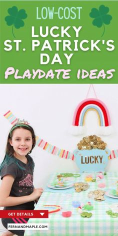 How to set up an easy and inexpensive Lucky St. Patrick's Day Playdate for your kids with fun perler bead crafts, cute DIY decor, and delicious desserts! Get details now at fernandmaple.com.
