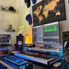Home Recording Studio Setup, Home Studio Setup, Music Studio Room, Studio Desk, Home Office Setup, Home Music Rooms, Gaming Room Setup, Game Room Design, My New Room