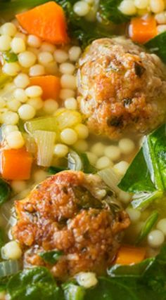 Italian Wedding Soup ~ This soup is amazing... It's packed with fresh flavors and the meatballs just make this soup sing