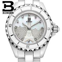 51.00$  Watch now - http://aliiaj.worldwells.pw/go.php?t=32547295558 - Switzerland Binger ceramic wristwatches Women fashion quartz watch Round rhinestone watches 100M Water Resistance BG-8008L 51.00$