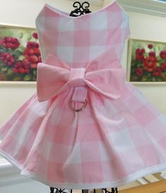 Dog Dress Puppy Dress Pink White Gingham Pet Apparel Dog image 9 Best Picture For Pet fashion editor Puppy Clothes Girl, Pet Clothes, Small Dog Clothes, Dog Clothing, Dress With Bow, Pink Dress, Dog Clothes Patterns, Pet Fashion, Fashion Clothes