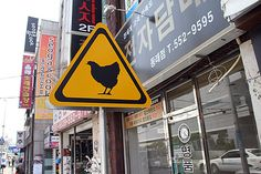 Chicken Warning Sign…or another obvious thought comes to mind...Why Did the Chicken Cross the Road?