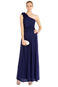 A graceful floor-sweeping maxi dress tailored to beautifully follow the body's curves. The Maya Maxi Dress is a fine example of how to effortless wear the coveted goddess type style, with its directional pleat detail and shoulders adorned in 3D crepe roses this dress is truly a unique piece. Wear with soft heels to complete the romantic look.
