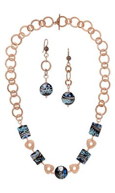 Single-Strand Necklace and Earring Set with Lampworked Glass Beads, Copper-Plated Pewter Links and Shiny Copper Chain