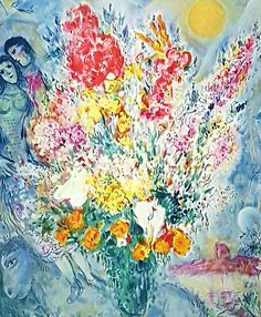 Marc Chagall Original Bouquet Rare Museum Framed and Matted Signed & Numbered Limited Edition Giclee Print with Certificate. - Marc Chagall (1887-1985) is among the most beloved, respected, and cherished visual artists in Jewish, Russian, and French history. This is not cheap