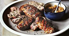 The punchy fig, caper and anchovy salsa cuts through the rich roast duck. Duck Recipes, Pasta Recipes, Cooking Recipes, Dried Fig Recipes, Roasted Duck Breast, Roast Duck, Fresh Figs, Tasty, Yummy Food