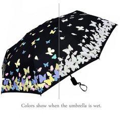 Automatic Color Changing Butterfly Umbrella Butterfly Gifts, White Butterfly, Butterfly Pattern, Amelie, Floral Umbrellas, Folding Umbrella, Secret Santa Gifts, Getting Wet, Beautiful Butterflies