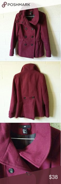 H&M Maroon Classic Peacoat Beautiful and warm H&M Burgundy Peacoat. This coat has a classic cut with double front buttons and a cowl style neck that hooks together at the top to keep you warm. The collar is stiff enough to stand up for a striking look or be folded over for a more casual vibe. There are button details on the cuffs and back. This pea coat would look great with booties and a brimmed or floppy hat! Size 4 from H&M. Excellent condition. Also available in gray! Will consider…