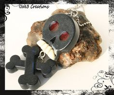 Rockin' Skull and Crossbones Pendant Black by We3Creations01, $25.00