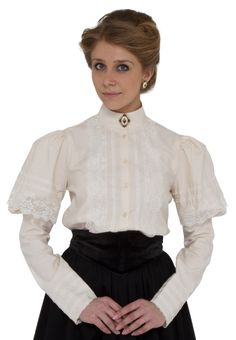 Ruth Blouse By RecollectionsAttractive and alluring, this Victorian styled blouse is perfect for any woman! Charming blouse has high collar and lace trimmed leg-o-mutton sleeves.