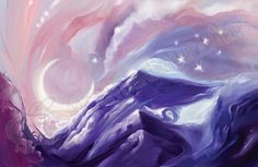 5 x 7 Print  Surreal Soft Mountains and Moon by mtnlaurelarts, $5.00