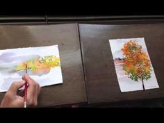 how to: watercolor: mini paintings: fall-scape 2013
