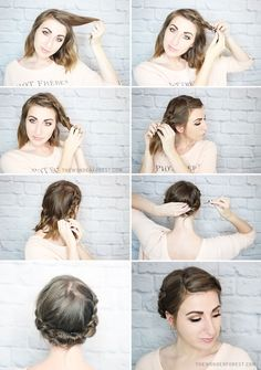 Quick Rolled Braid Updo For Shorter Hair - Hair Styles Braided Updo For Short Hair, Braided Hairstyles Updo, Diy Hairstyles, Pretty Hairstyles, Wedding Hairstyles, Twisted Updo, Short Hair Braids Tutorial, Short Hair Crown Braid, Short Hair Tutorials