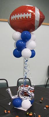 Party People Celebration Company - Special Event Decor Custom Balloon decor and Fabric Designs: October 2011 Dance Party Decorations, Homecoming Decorations, Kids Party Themes, Balloon Decorations, Party Ideas, Balloon Ideas, Balloon Table Centerpieces, Football Centerpieces, Banquet Centerpieces