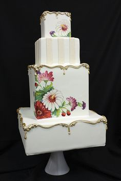 Painted Vintage Plate Cake Finished by Amanda Oakleaf Cakes, Elegant Wedding Cakes, Elegant Cakes, Beautiful Wedding Cakes, Gorgeous Cakes, Pretty Cakes, Amazing Cakes, Cake Wedding, Amazing Art, Awesome