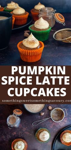 Pumpkin Spice Latte Cupcakes! That sweet, spicy Autumnal hot drink in cupcake form. Soft and moist coffee spiked pumpkin spice cupcakes topped with a pumpkin spiced whipped cream topping. #pumpkinspicelattecupcakes #pumpkinspicelattecupcakesrecipe #pumpkinspicelattecupcakesrecipeuk #pumpkinspicecupcakesuk Perfect Cupcake Recipe, Easy Cupcake Recipes, Best Dessert Recipes, Easy Desserts, Sweet Recipes, Delicious Desserts, Pumpkin Recipes, Fall Recipes, Thanksgiving Recipes