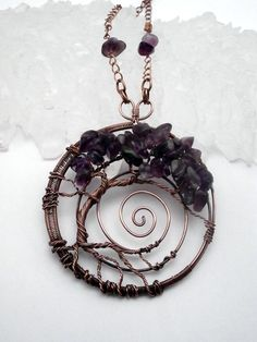 Wire Wrapped Tree of Life Pendant Necklace, Amethyst Bonsai  by PerfectlyTwisted, $60.00