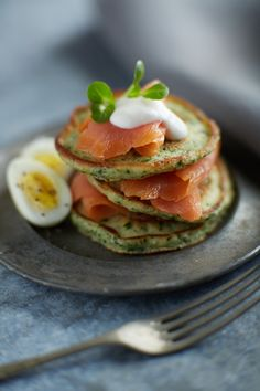 Herb Blinis with Smoked Salmon and Creme Fraiche