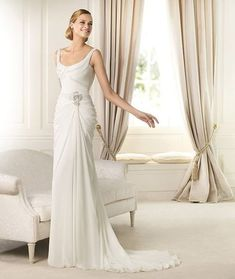 Sheath Column Scoop Court Train Ivory Wedding Dresses H4pn0137 for $895