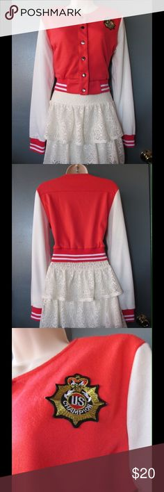 Divine Coral/White Letterman Crop Top W/ Brooches NWOT. Spectacular crop top jacket. Soft and comfy. Gorgeous colors and exquisite decoration. Size Large. Save $$$ on bundles. Jackets & Coats