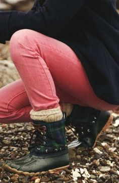 coral denim, black watch plaid, bean boots.