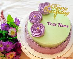 Purple Flower Birthday Wishes Cake With Your Name Birthday Wishes Cake, Cake Templates, Cake Name, Purple Flowers, Names, Cake Designs