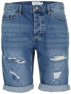 Mid Wash Blue Ripped Slim Denim Shorts   TOPMAN saved by #ShoppingIS
