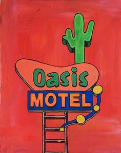 """Oasis Motel, acrylic and glow paint, 16"""" by 20"""" canvas   medium contemporary pop art painting by artist Liz Kelly Zook   wall art, stretched canvas, stretched canvas wall art, painting, pop art painting, contemporary pop art painting, colorful art, pop painting, home decor, nashville, pop artist, female pop artist, contemporary artist, paintings, nashville"""