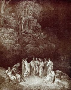 """""""Thus I beheld assemble the fair school Of that lord of the song pre-eminent, Who o'er the others like an eagle soars.""""   Inferno: Dante among the great poets of antiquity in Limbo. Creator: Doré, Gustave Date: c.1868"""