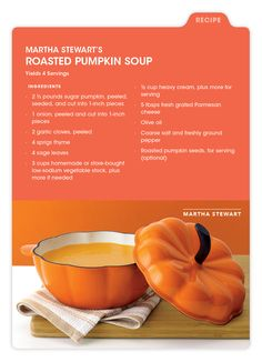 Martha Stewart has a delicious meal to tide you over until Thanksgiving dinner... visit mBLOG now for her Roasted Pumpkin Soup recipe. And be sure to scale your servings for more people — your beautiful pumpkin serveware is sure to draw a crowd!