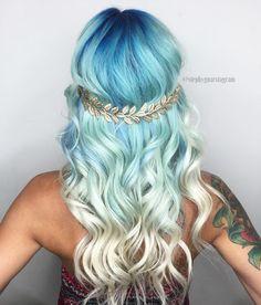 Sea Goddess Blue to Blonde Balayage