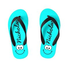 a33450f83d3f45 Personalized Blue Kid s Flip Flops