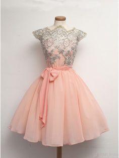Vintage Scalloped-Edge Chiffon Cap Sleeves Lace Short Pink Party Prom Homecoming Dress #homecomingdresses #SIMIBridal