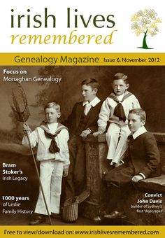 November 2012 - (6th issue) The front page cover of Irish Lives Remembered FREE Genealogy eMagazine.