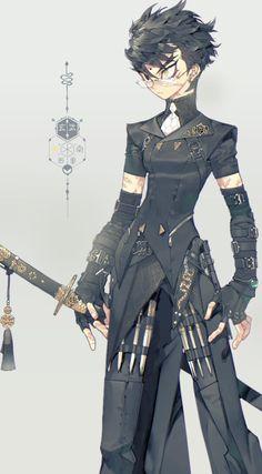 """❤血池地獄 82PIGEON🖤 on Twitter: """"헌터 세계관 만들적에 좋아햇던 옛날 자캐 엔키 새까만 옷이 그리고싶엇는데 디바이드로 색뺀게 더 멋잇잔아 왜야 ;////;… """" Fantasy Character Design, Character Design Inspiration, Character Concept, Character Art, Concept Art, Dnd Characters, Fantasy Characters, Female Characters, Comic Manga"""