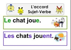 accord sujet-verbe French Verbs, French Grammar, Core French, French Class, French Language Learning, Language Lessons, Writing Activities, Teaching Resources, Les Homophones