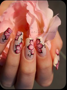 """Nail art one stroke fleurs russes"" by Tartofraises."
