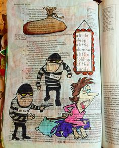 #proverbs 24:33-34 A little sleep, a little slumber, a little folding of the hands to rest, and poverty will come upon you like a robber, and want like an armed man. #biblejournalingcommunity #illustratedfaith #biblejoy #biblejournaling