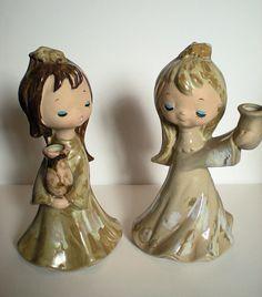 Vintage Ceramic Choir Girls Candle Holders with Sweet by Moosemom, $10.50