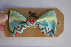 Robin Egg Blue CHEVRON Bow Tie for Pet Collars Fits by GymboHannah, $12.00