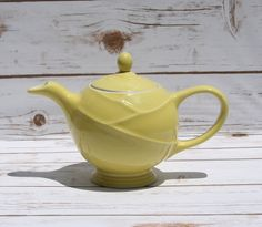 Hall China Canary Yellow Swirl Teapot Vintage Pottery Mid Century Kitchen by WhimsyChicEmporium on Etsy