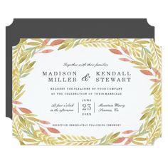 Farm Wedding Invitations Harvest Botanical Frame | Wedding Invitation