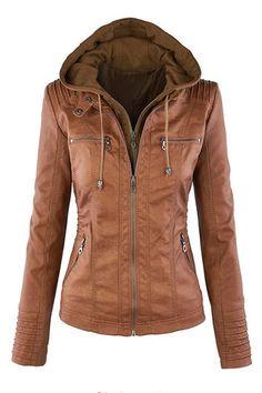 Khaki Fashion Zipped Jacket With Removable Hood - US$55.95 -YOINS